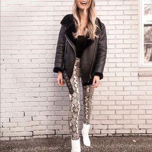 NEW Zara Trafaluc hi-rise/skinny snakeskin  pants
